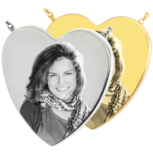 Wholesale B&B Heart Photo Jewelry shown in silver and gold metal options