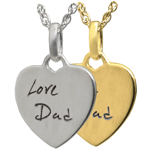 Wholesale Petite Heart Handwriting Flat Charm in silver or gold
