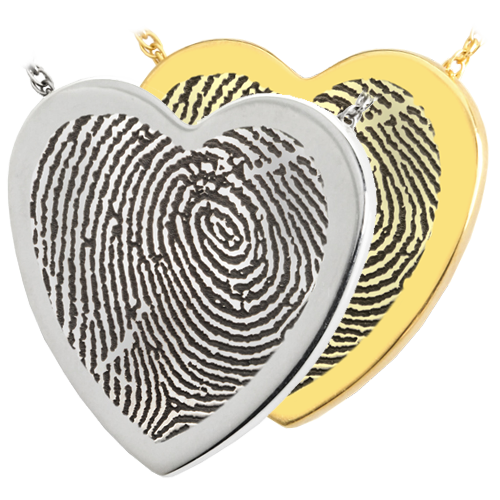 Wholesale B&B Heart Fingerprint Jewelry shown in silver and gold