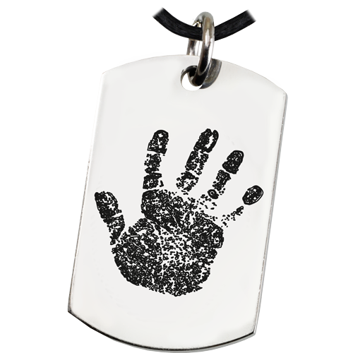 Organic handprint shown on Stainless Steel Dog Tag