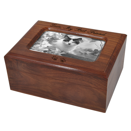 Memory Chest shown with black fill engraving and b&w photo