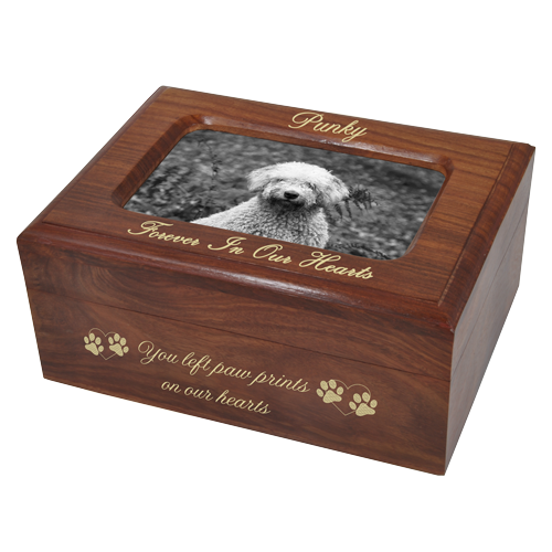 Memory Chest Wooden Dog Urn with Photo Window- Small shown with gold fill
