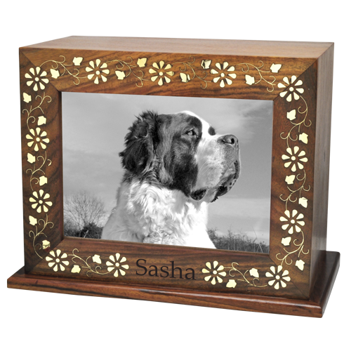 Wholesale Gilded Wood Pet Urn shown with pet photo & engraved name
