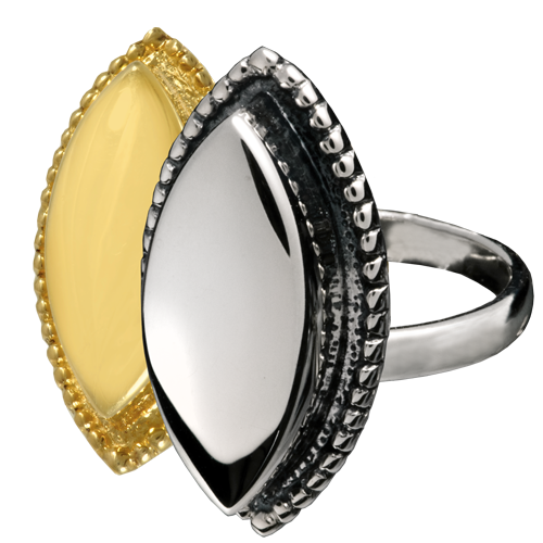 Wholesale Urn Jewelry Oval Ring shown in silver and gold metals