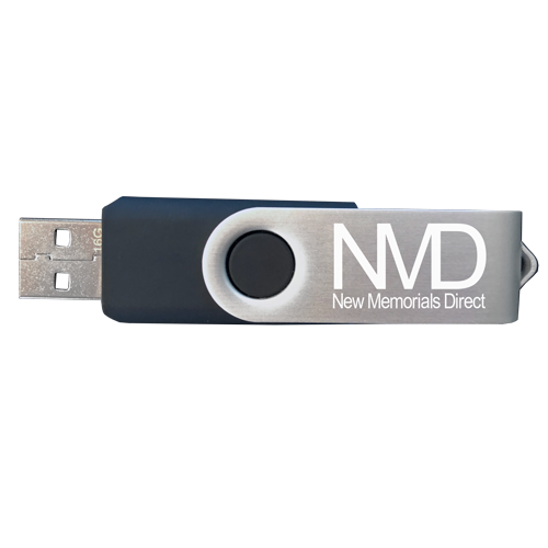thumb drive loaded with marketing images for memorial jewelry