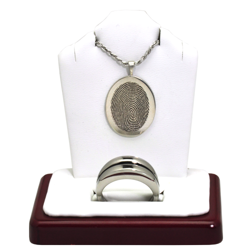 Wholesale Fingerprint + Cremation Jewelry Display- 2 piece front view