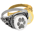 Wholesale Round Ring Pawprint shown in silver and gold metals