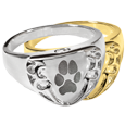 Wholesale Pet Print Cremation Shield Ring Pawprint in silver and gold