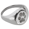 Wholesale Pet Print Jewelry: Sterling Silver Elegant Round Ring- Pawprint