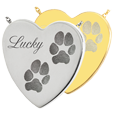 Wholesale Heart 2 Pawprints Pet Jewelry no chamber in silver and gold