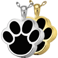 Wholesale Cremation Jewelry: Black Inlay Paw Print shown in silver and gold