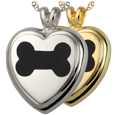 Black Inlay Dog Bone Heart pet jewelry shown in silver and gold