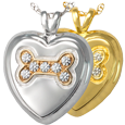 Dog Bone Heart with Stones pet jewelry shown in silver and gold