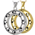 Eternity Pet Urn jewelry shown in silver and gold metal options