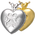 Wholesale Pet Jewelry A touch of your paw shown in silver and gold
