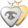 Wholesale Heart Double-Photo Locket- Noseprint shown in silver and gold