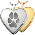 Heart Double-Photo Locket- Pawprint shown in silver and gold