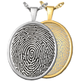 Wholesale Fingerprint Jewelry Oval Rimmed Pendant shown in silver and gold