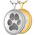 Oval Rimmed Pendant- Pawprint jewelry shown in silver and gold metals