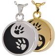 Wholesale Pet Jewelry Paw Print Yin Yang shown in silver and gold