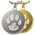 Wholesale Pet Cremation Jewelry: Cat Paw Pendant shown in silver and gold