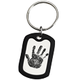 Rubber silencer shown with Stainless Steel Dog Tag- Handprint key fob