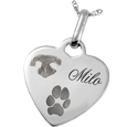 Wholesale Pet Print Memorial Jewelry: Sterling Silver Heart Tag- Actual Nose & Paw Prints