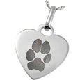 Wholesale Pet Print Memorial Jewelry: Sterling Silver Heart Tag- Pawprint