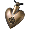Wholesale Pet Cremation Jewelry: Brass Heart Pawprint