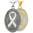 Oval Fingerprint Jewelry with Awareness Ribbon shown in silver and gold