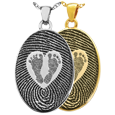 Wholesale B&B Oval Fingerprint Jewelry & Babyfeet within Heart