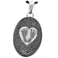 Stainless Steel Flat Oval Fingerprint Jewelry & Babyfeet within Heart