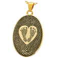 Gold-plated Flat Oval Fingerprint Jewelry & Babyfeet within Heart