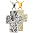 Wholesale B&B Cross Fingerprint Jewelry shown in silver and gold