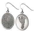 Wholesale Fingerprint Memorial Jewelry: Sterling Silver Earrings