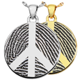 Round Fingerprint Peace Sign Jewelry shown in silver and gold