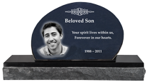 Wholesale Photo Laser Engraved Granite Headstone- Oblong