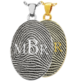 Oval Fingerprint Jewelry with Monogram shown in silver and gold