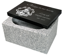 Wholesale Photo Laser Engraved Top with China White Base Granite Urn
