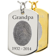 Flat Dog Tag Fingerprint Jewelry shown engraved with name & dates