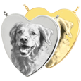 Wholesale B&B Heart Pet Photo Jewelry shown in silver and gold