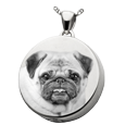 Silver Round Pet Photo Jewelry with compartment