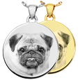 Wholesale B&B Round Pet Photo Jewelry shown in silver and gold