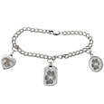 Wholesale Pet Print Jewelry: Sterling Double Link Charm Bracelet