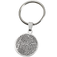 Stainless Steel Round Outline Fingerprint shown with key ring
