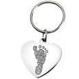 Stainless Steel Heart Back shown engraved of Stainless shown with key ring