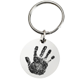 Stainless Steel Round Handprint shown with key ring