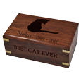 Perfect Wooden Box Pet Urn Small shown engraved with cat silhouette