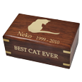 Gold fill shown Perfect Wooden Box Cat Urn Small