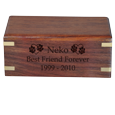 Epitaph engraved directly into wood on front of cat urn
